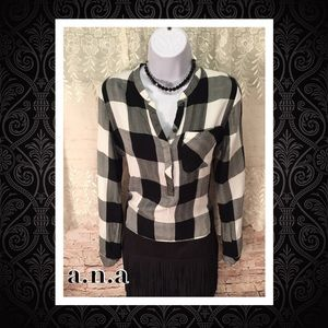 👚a.n.a Plaid Hi-Low Shirt
